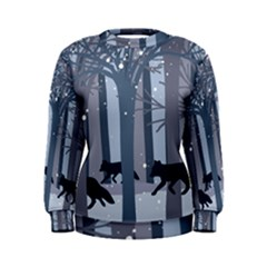 Foxes in the winter forest Women s Sweatshirt
