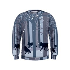 Foxes In The Winter Forest Kids  Sweatshirt