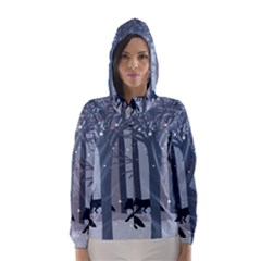 Foxes in the winter forest Hooded Wind Breaker (Women)