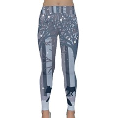 Foxes In The Winter Forest Yoga Leggings