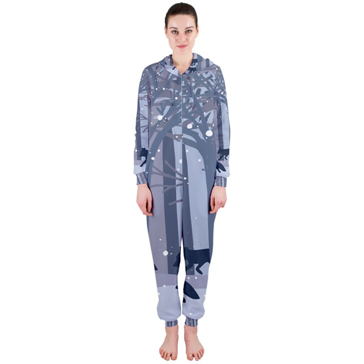 Foxes in the winter forest Hooded Jumpsuit (Ladies)