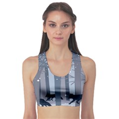 Foxes In The Winter Forest Sports Bra