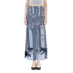Foxes In The Winter Forest Women s Maxi Skirt