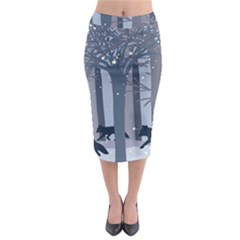Foxes in the winter forest Midi Pencil Skirt