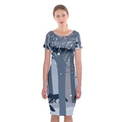 Foxes In The Winter Forest Classic Short Sleeve Midi Dress