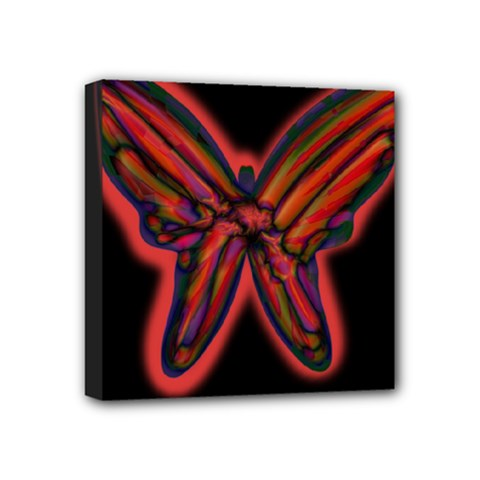 Red butterfly Mini Canvas 4  x 4