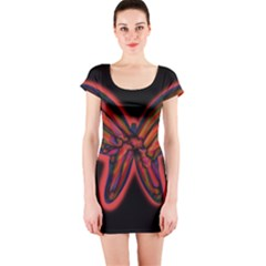 Red butterfly Short Sleeve Bodycon Dress