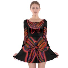 Red butterfly Long Sleeve Skater Dress