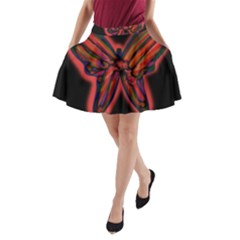 Red butterfly A-Line Pocket Skirt