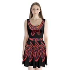 Red butterfly Split Back Mini Dress