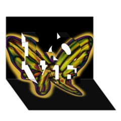 Night butterfly LOVE 3D Greeting Card (7x5)