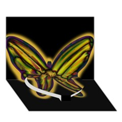 Night butterfly Heart Bottom 3D Greeting Card (7x5)