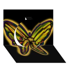 Night butterfly Circle 3D Greeting Card (7x5)