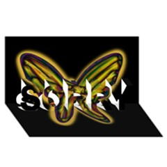 Night butterfly SORRY 3D Greeting Card (8x4)
