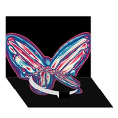 Neon butterfly Circle Bottom 3D Greeting Card (7x5)