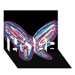Neon butterfly HOPE 3D Greeting Card (7x5)
