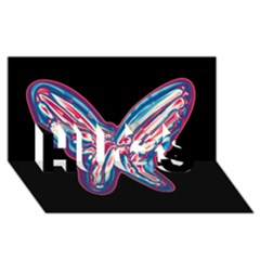 Neon butterfly HUGS 3D Greeting Card (8x4)