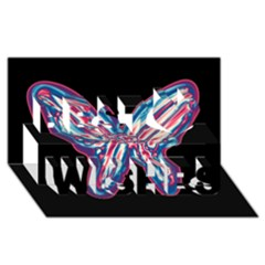Neon Butterfly Best Wish 3d Greeting Card (8x4)