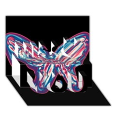 Neon butterfly Miss You 3D Greeting Card (7x5)