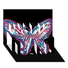 Neon butterfly WORK HARD 3D Greeting Card (7x5)