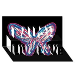 Neon butterfly Laugh Live Love 3D Greeting Card (8x4)