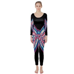 Neon butterfly Long Sleeve Catsuit