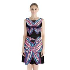 Neon butterfly Sleeveless Chiffon Waist Tie Dress