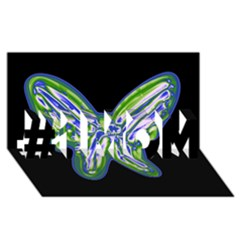 Green neon butterfly #1 MOM 3D Greeting Cards (8x4)