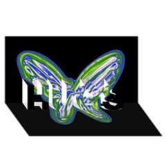 Green neon butterfly HUGS 3D Greeting Card (8x4)