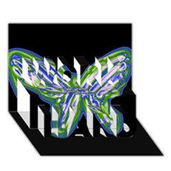 Green neon butterfly WORK HARD 3D Greeting Card (7x5)
