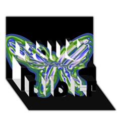 Green neon butterfly You Did It 3D Greeting Card (7x5)