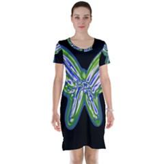 Green neon butterfly Short Sleeve Nightdress