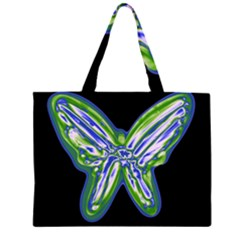Green neon butterfly Large Tote Bag