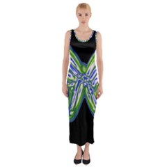 Green Neon Butterfly Fitted Maxi Dress