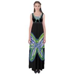 Green Neon Butterfly Empire Waist Maxi Dress