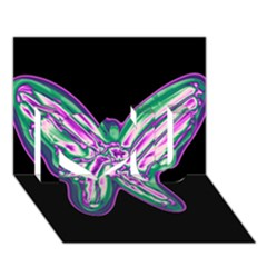 Neon butterfly I Love You 3D Greeting Card (7x5)