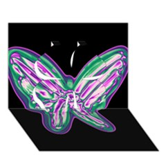 Neon butterfly Clover 3D Greeting Card (7x5)