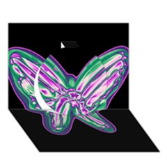 Neon butterfly Circle 3D Greeting Card (7x5)