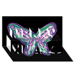 Neon butterfly Merry Xmas 3D Greeting Card (8x4)