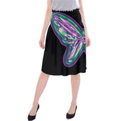 Neon butterfly Midi Beach Skirt