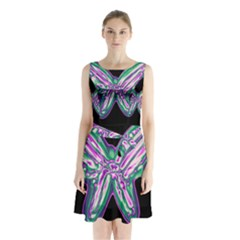 Neon Butterfly Sleeveless Chiffon Waist Tie Dress