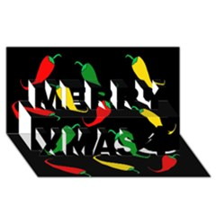 Chili peppers Merry Xmas 3D Greeting Card (8x4)