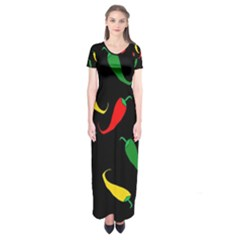 Chili peppers Short Sleeve Maxi Dress