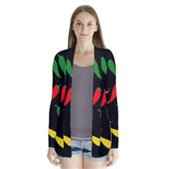 Chili peppers Drape Collar Cardigan