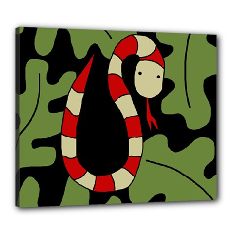 Red cartoon snake Canvas 24  x 20