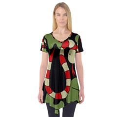 Red cartoon snake Short Sleeve Tunic