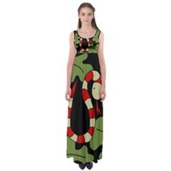 Red cartoon snake Empire Waist Maxi Dress