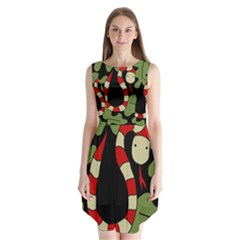 Red cartoon snake Sleeveless Chiffon Dress