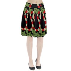 Red Cartoon Snake Pleated Skirt
