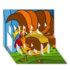 Thanksgiving turkey  Miss You 3D Greeting Card (7x5)